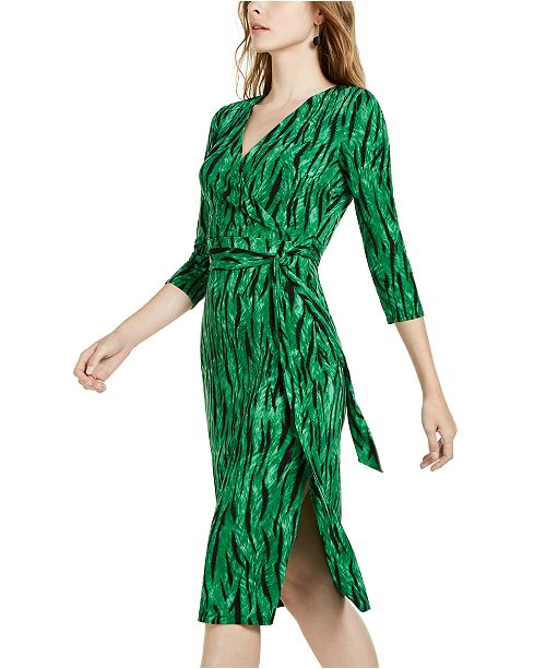 INC International Concepts I.N.C. Side-Tie Faux-Wrap Dress, Created for Macy's