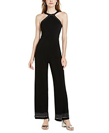 INC Stud-Trim Halter Jumpsuit, Created for Macy's