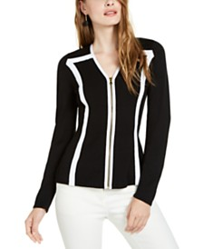 I.N.C. Colorblocked-Trim Zip Cardigan Sweater, Created for Macy's
