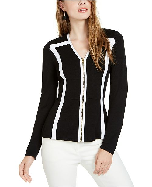 INC International Concepts I.N.C. Colorblocked-Trim Zip Cardigan Sweater, Created for Macy's
