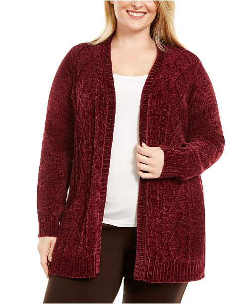 Karen Scott Plus Size Open Front Chenille Cardigan, Created