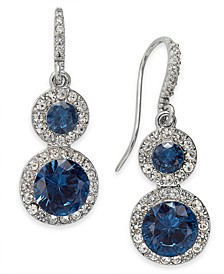 Crystal & Stone Halo Drop Earrings, Created for Macy's