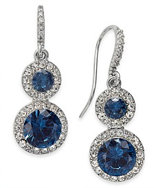 Charter Club Crystal & Stone Halo Drop Earrings, Created for Macy's