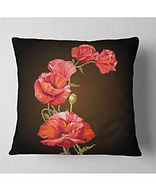 "Designart Bright Poppies Flower Floral Throw Pillow - 26"" x 26"""