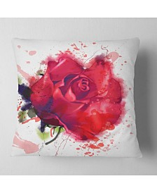 "Designart Beautiful Bright Red Rose Floral Throw Pillow - 18"" x 18"""