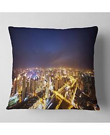 "Designart Downtown Nighttime Panorama Cityscape Throw Pillow - 26"" x 26"""
