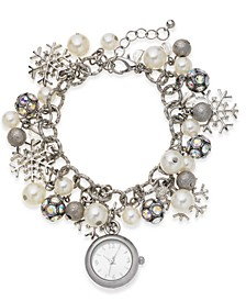 Women's Snowflake Silver-Tone Charm Bracelet Watch 26mm, Created for Macy's
