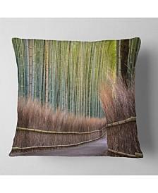 "Designart Pathway Inside Bamboo Forest Forest Throw Pillow - 16"" x 16"""