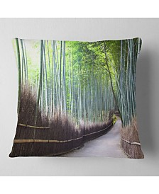 """Designart Kyoto Bamboo Forest Pathway Forest Throw Pillow - 18"""" x 18"""""""