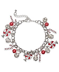 Silver-Tone Crystal & Imitation Pearl Peppermint Charm Bracelet, Created for Macy's