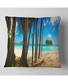 "Designart Praslin Island Tropical Beach Panorama Modern Seascape Throw Pillow - 18"" x 18"""