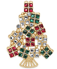 Gold-Tone Crystal Gifts Tree Pin, Created for Macy's