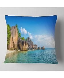 "Designart Fantastic Seychelles Seashore Seascape Throw Pillow - 18"" x 18"""