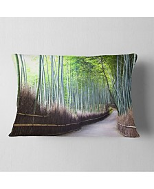 """Designart Kyoto Bamboo Forest Pathway Forest Throw Pillow - 12"""" x 20"""""""