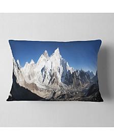 "Designart Mount Everest Glacier Panorama Landscape Printed Throw Pillow - 12"" x 20"""