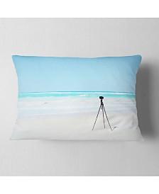 "Designart Digital Camera and Tripod on Beach Landscape Wall Throw Pillow - 12"" x 20"""