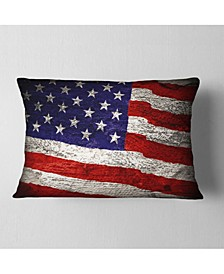 "Designart Large American Flag Watercolor Abstract Throw Pillow - 12"" x 20"""