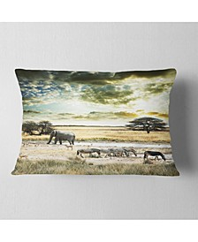 "Wild African Zebras and Elephant African Throw Pillow - 12"" x 20"""
