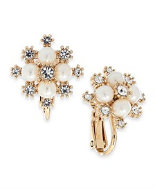Gold-Tone Crystal & Imitation Pearl Snowflake Clip-On Button Earrings, Created For Macy's
