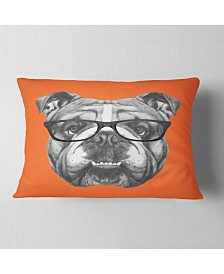 "Designart English Bulldog with Glasses Animal Throw Pillow - 12"" x 20"""