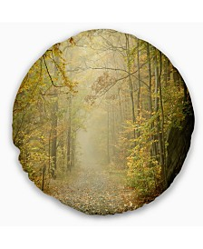"Designart Autumn Forest Path on Misty Morning Landscape Photography Throw Pillow - 16"" Round"