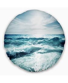 "Designart Seychelles Beach at Sunset Seascape Throw Pillow - 16"" Round"