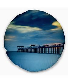 "Designart Wooden Pier and Turquoise Seashore Pier Seascape Throw Pillow - 16"" Round"