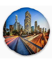 """Designart Downtown LA with Traffic Trail Cityscape Throw Pillow - 16"""" Round"""