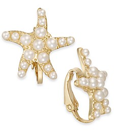 Gold-Tone Imitation Pearl Starfish Clip-On Stud Earrings, Created For Macy's