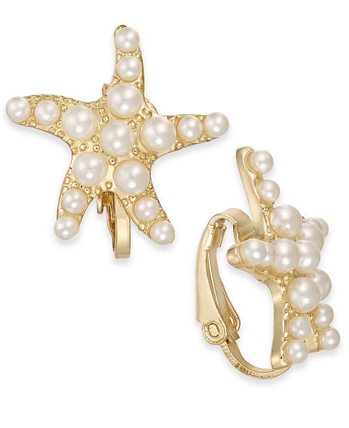 Charter Club Gold-Tone Imitation Pearl Starfish Clip-On Stud Earrings, Created For Macy's