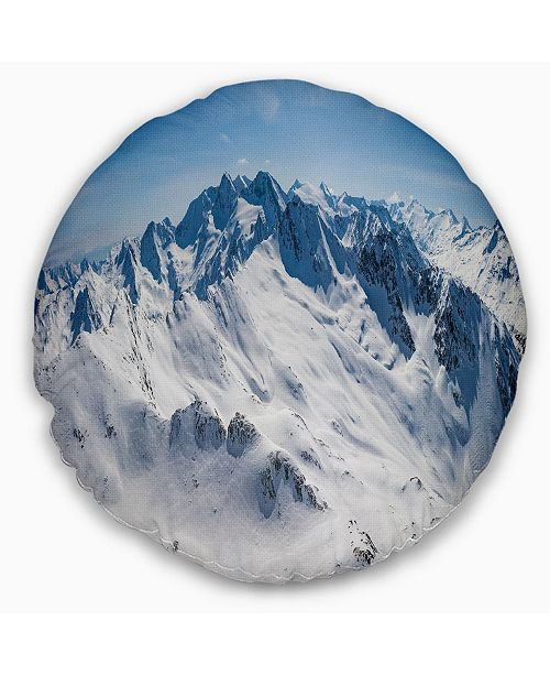 Design Art Designart Snowy Mountains Panoramic View Landscape Printed Throw Pillow 16 Round Reviews Decorative Throw Pillows Bed Bath Macy S