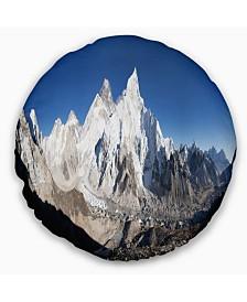 "Designart Mount Everest Glacier Panorama Landscape Printed Throw Pillow - 16"" Round"