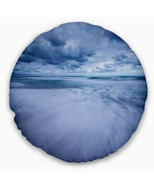 "Designart Stormy Clouds Over Ocean Modern Seascape Throw Pillow - 16"" Round"