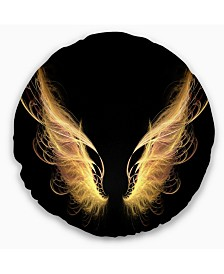 """Designart Golden Angel Wings on Black Abstract Throw Pillow - 16"""" Round"""