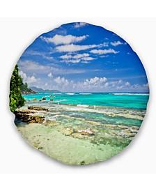 "Designart Tranquil Seychelles Tropical Beach Modern Seascape Throw Pillow - 20"" Round"