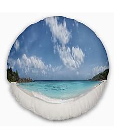 "Designart Majestic Seychelles Beach Panorama Seascape Throw Pillow - 20"" Round"