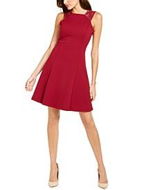 Studded-Strap Fit & Flare Dress