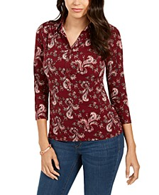 Printed 3/4-Sleeve Polo Top, Created for Macy's