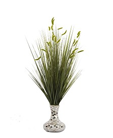 """Laura Ashley 32"""" Tall Onion Grass with Cattail Artificial Indoor/ Outdoor Faux Decor in Pearl Mosaic Vase"""
