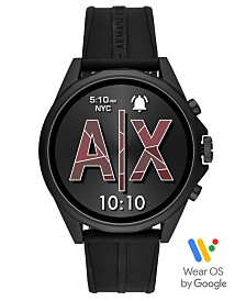 A|X Armani Exchange Men's Drexler Black Silicone Strap Touchscreen Smart Watch 46mm