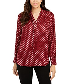 Petite Dot-Print Tie-Neck Blouse, Created for Macy's