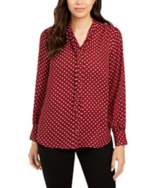 Charter Club Dot-Print Tie-Neck Blouse, Created for Macy's