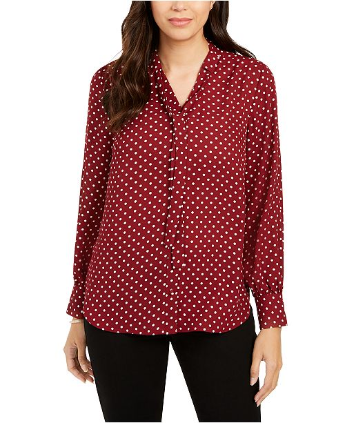 Charter Club Petite Dot-Print Tie-Neck Blouse, Created for Macy's