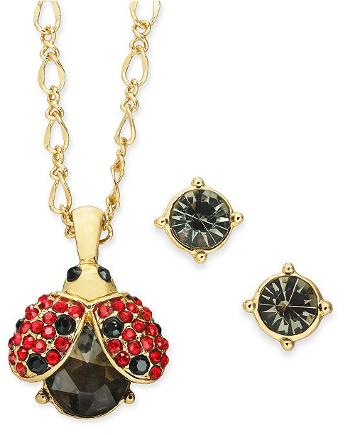 """Charter Club Gold-Tone Crystal Ladybug Pendant Necklace & Stud Earrings Set, 17"""" + 2"""" extender, Created for Macy's"""