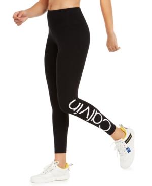 Calvin Klein Performance Logo High-waist 7/8 Length Leggings In White Combo