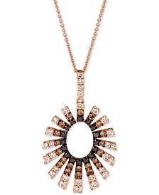 "Le Vian Chocolate Layer Cake™ Diamond Sunburst 20"" Pendant Necklace (1-1/2 ct. t.w.) in 14k Rose Gold"