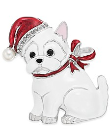 Silver-Tone Pavé & Imitation Pearl Westie Pin, Created For Macy's