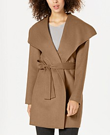 Double-Face Wool-Blend Wrap Coat