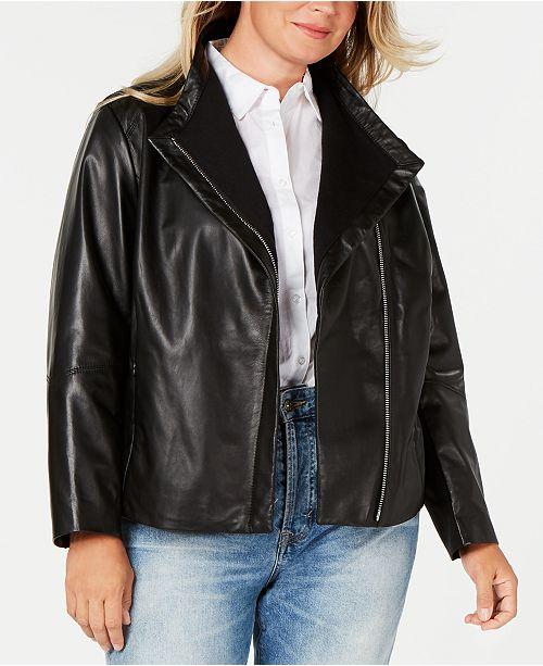 DKNY Plus Size Asymmetrical Leather Jacket