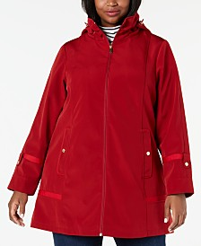Jones New York Plus Size Hooded Balmacaan Raincoat